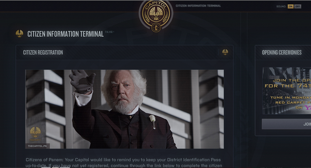 Hunger Games Capitol Network Site