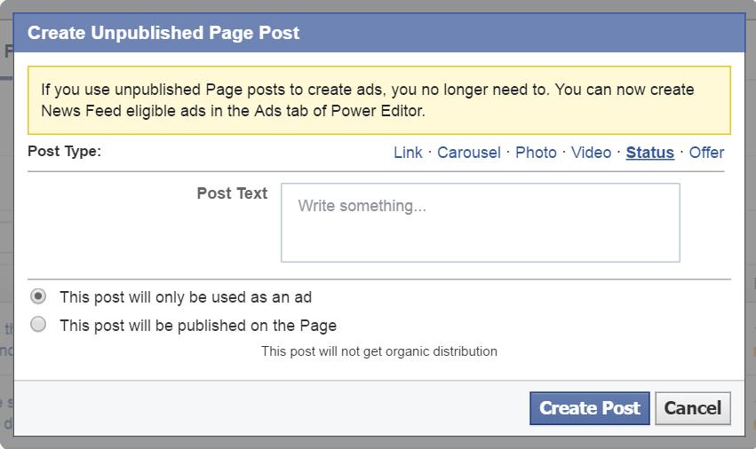 Power Editor Page Post - status