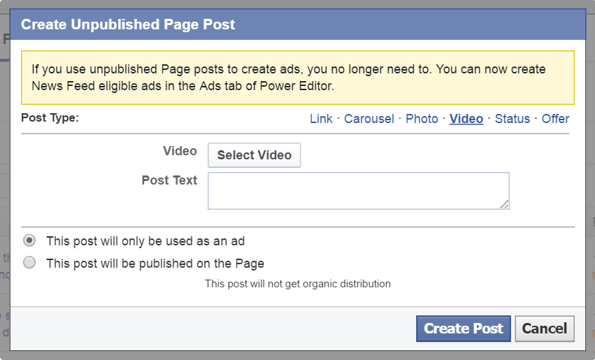 Power Editor Page Post - video